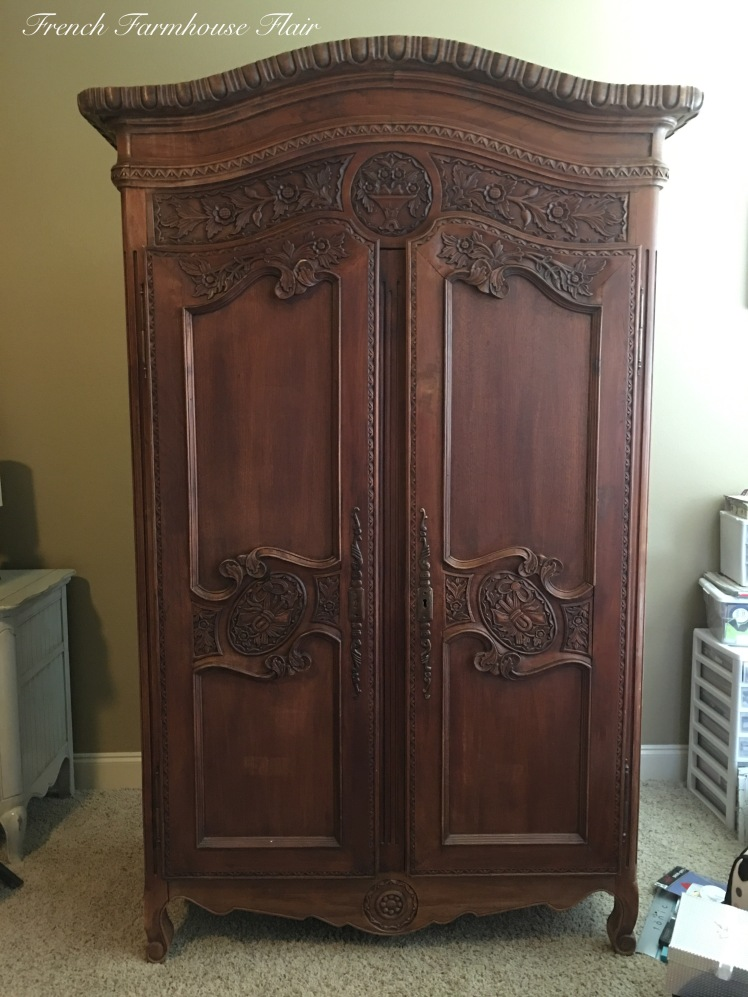 antique french flair armoire makeover french farmhouse flair. Black Bedroom Furniture Sets. Home Design Ideas